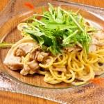 アップ豚肉と水菜の冷製パスタ